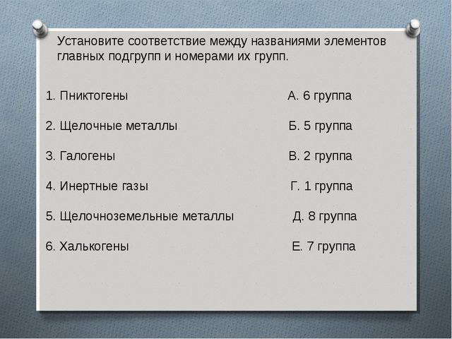 Установите соответствие между названиями элементов главных подгрупп и номерам...