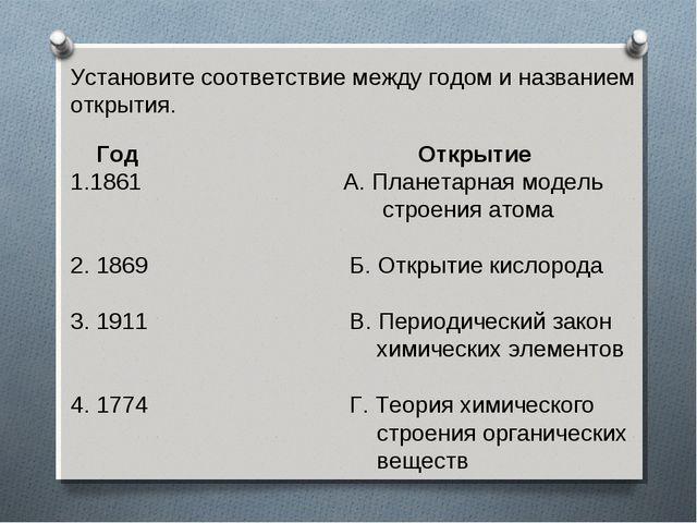Установите соответствие между годом и названием открытия.  Год Открытие 1861...