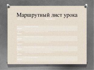 Маршрутный лист урока № п/п Вид работы 1виток Словарная работа 2 виток Теорет