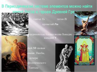В Периодической системе элементов можно найти имена богов и героев Древней Гр