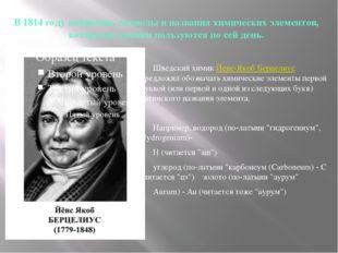 В 1814 году появились символы и названия химических элементов, которыми химик