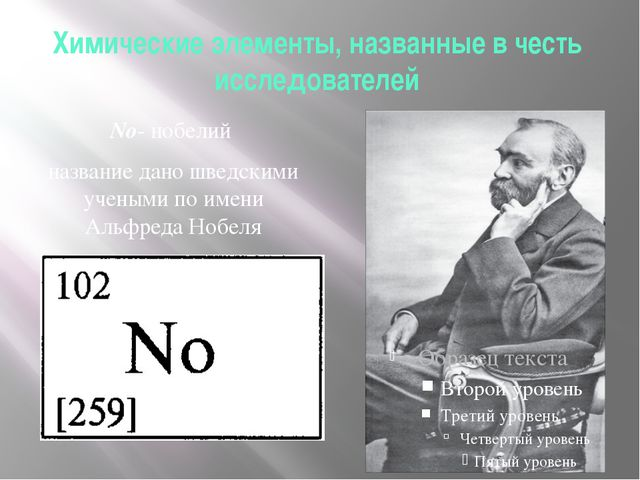 Химические элементы, названные в честь исследователей No- нобелий название да...
