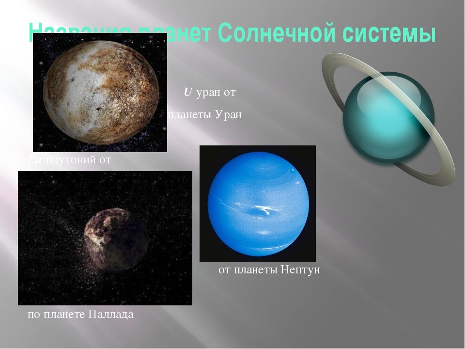 Названия планет Солнечной системы U уран от планеты Уран Pu плутоний от плане...