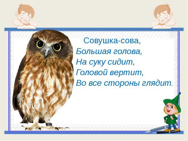Совушка-сова, Большая голова, На суку сидит, Головой вертит, Во все...