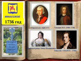 1736 год Кирилов и.К. (1689-1737) Татищев В.Н. (1686-1750) Тевкелев А.И.(1674