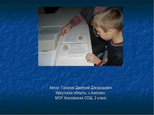 Автор: Гасанов Дмитрий Джахидович Иркутская область, с.Аносово, МОУ Аносовска