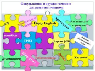 Факультативы и кружки гимназии для развития учащихся Этимология Решение неста
