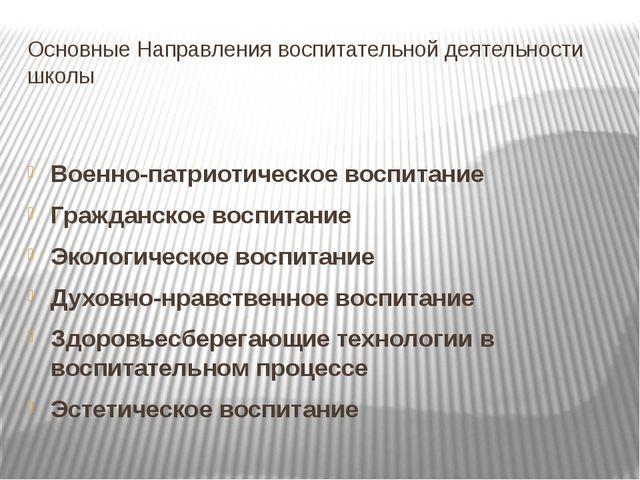 Основные Направления воспитательной деятельности школы Военно-патриотическое...