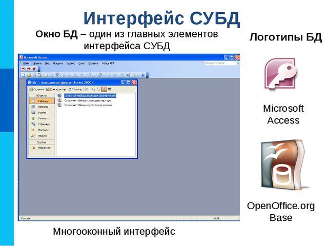 Интерфейс СУБД Логотипы БД Microsoft Access OpenOffice.org Base Многооконный...