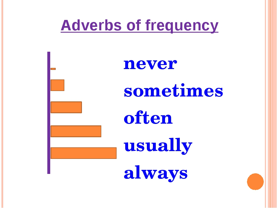 Adverbs of frequency never sometimes often usually always