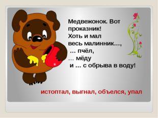Медвежонок. Вот проказник! Хоть и мал весь малинник…, … пчёл, … мёду и … с об