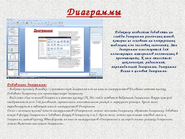 Диаграммы Добавление диаграммы: · Выбрать команду Вставка / Схематическая диа...
