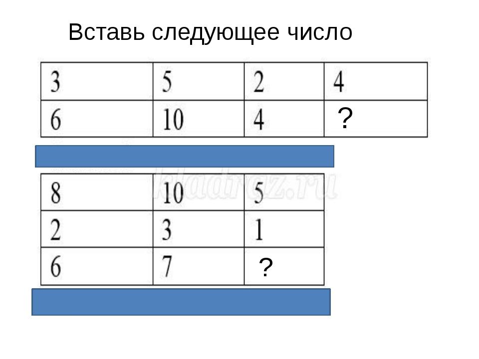 Какое число должно быть записано в свободной клетке? Вставь следующее число ? ?