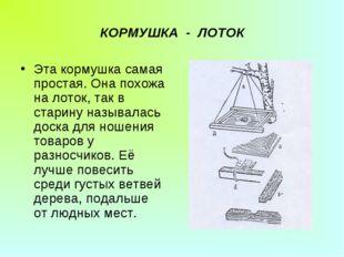 КОРМУШКА - ЛОТОК Эта кормушка самая простая. Она похожа на лоток, так в стари