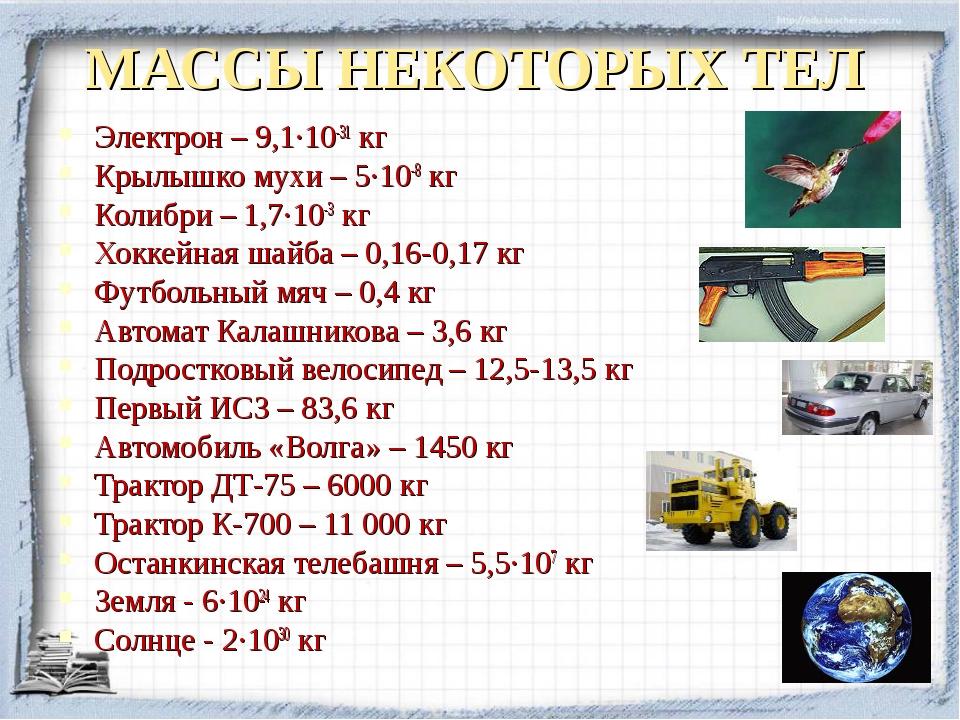 МАССЫ НЕКОТОРЫХ ТЕЛ Электрон – 9,1·10-31 кг Крылышко мухи – 5·10-8 кг Колибри...