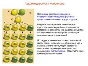 Характеристика популяции Популяции самоопыляющихся и перекрестноопыляющихся р