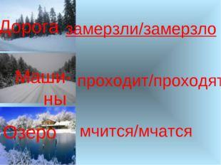 Дорога Маши-ны Озеро замерзли/замерзло мчится/мчатся проходит/проходят
