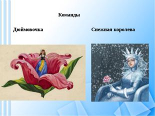 Команды Дюймовочка Снежная королева