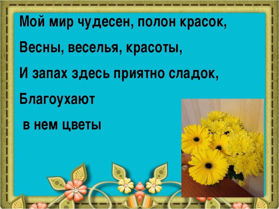 Мой мир чудесен, полон красок, Весны, веселья, красоты, И запах здесь приятно...