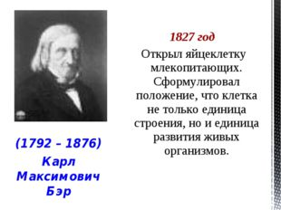 1827 год Открыл яйцеклетку млекопитающих. Сформулировал положение, что клетка