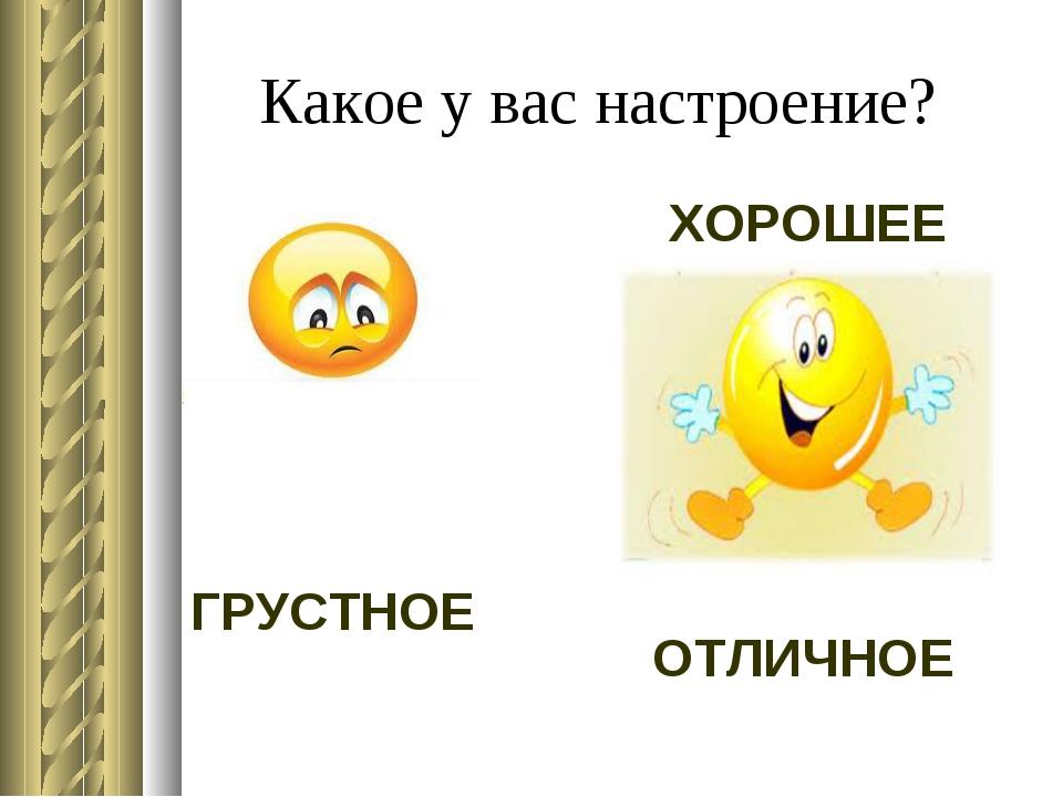 Какое у вас настроение? ХОРОШЕЕ ГРУСТНОЕ ОТЛИЧНОЕ