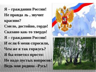 Я – гражданин России! Не правда ль , звучит красиво? Смело, достойно, гордо!