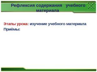 Этапы урока: изучение учебного материала Приёмы: Рефлексия содержания учебног