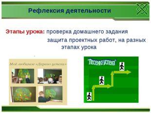 Рефлексия деятельности Этапы урока: проверка домашнего задания защита проектн