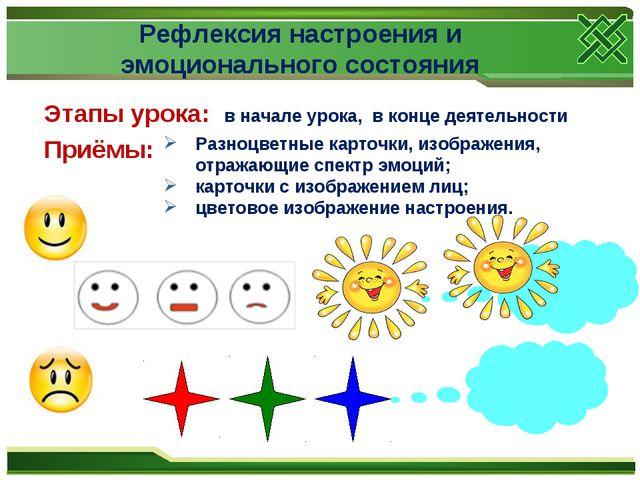 Рефлексия настроения и эмоционального состояния Этапы урока: в начале урока,...
