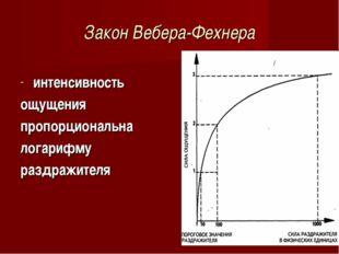 Закон Вебера-Фехнера интенсивность ощущения пропорциональна логарифму раздраж