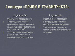 4 конкурс «ПРИЕМ В ТРАВМПУНКТЕ» 1 команда Оказать ПМП пострадавшему: У постра
