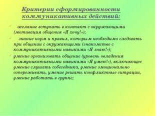 Критерии сформированности коммуникативных действий: желание вступать в контак