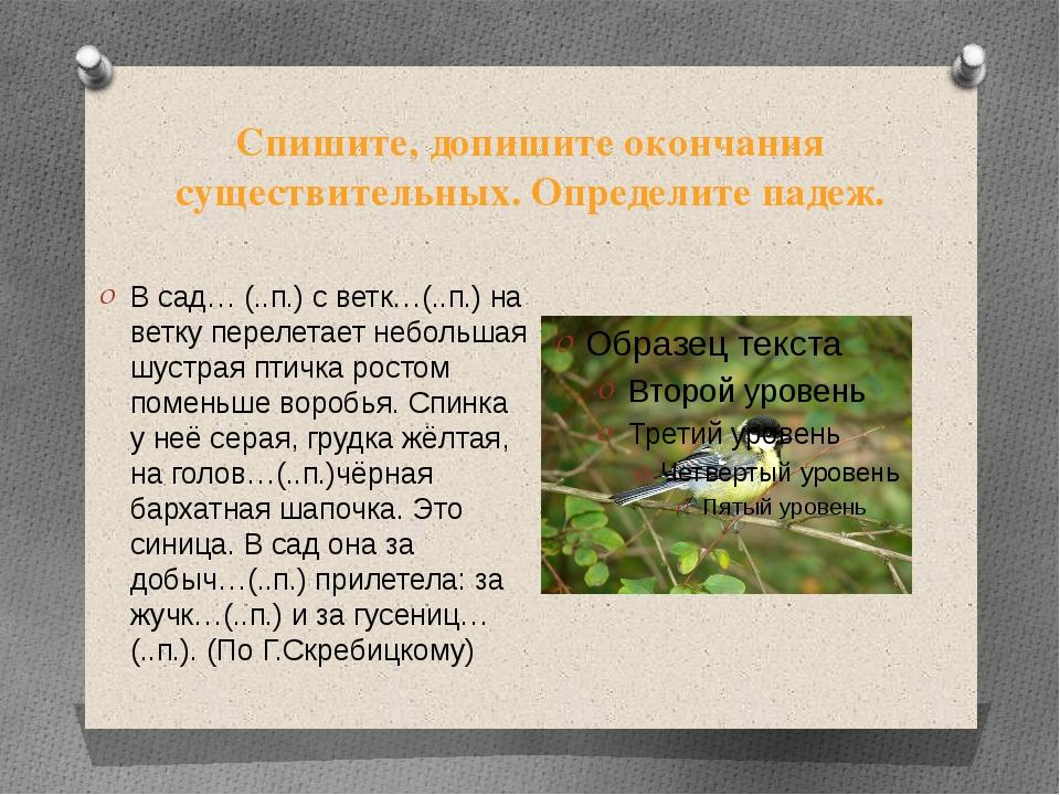 Спишите, допишите окончания существительных. Определите падеж. В сад… (..п.)...