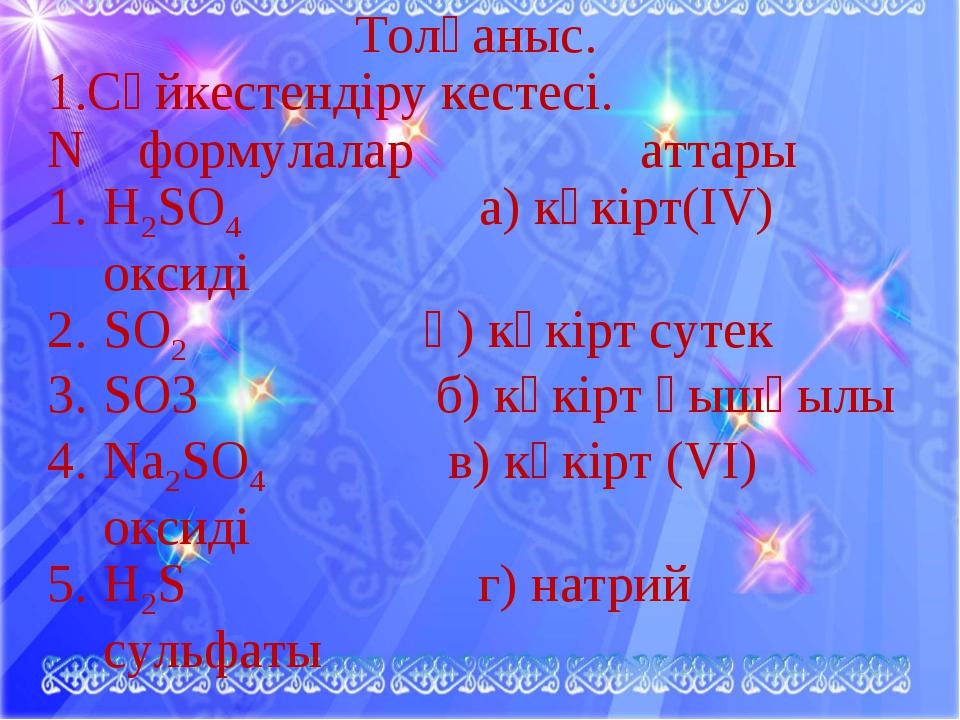 Толғаныс. 1.Сәйкестендіру кестесі. N формулалар аттары H2SO4 а) күкірт(ІV) ок...