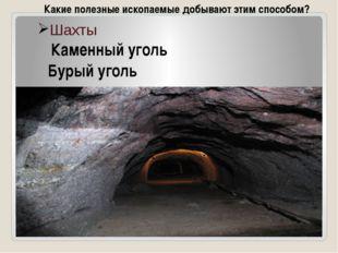 Шахты Каменный уголь Бурый уголь Какие полезные ископаемые добывают этим спос