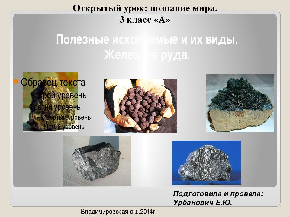 Полезные ископаемые и их виды. Железная руда. Открытый урок: познание мира. 3...