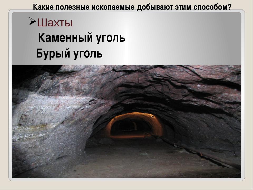 Шахты Каменный уголь Бурый уголь Какие полезные ископаемые добывают этим спос...