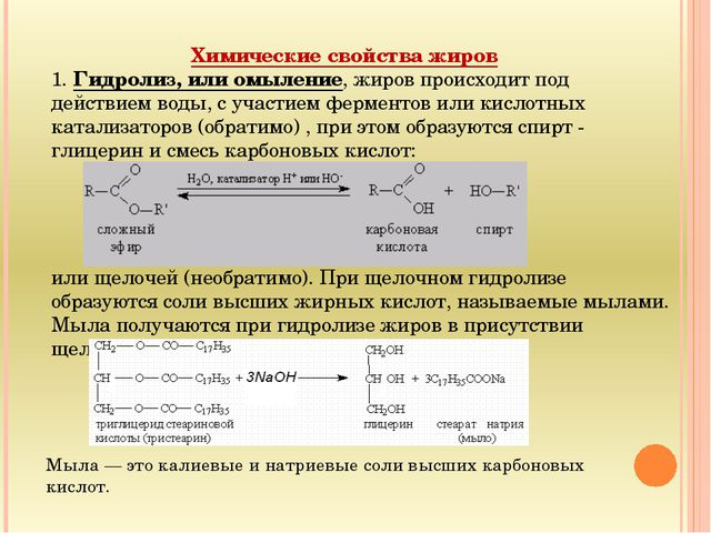 Химические свойства жиров 1. Гидролиз, или омыление, жиров происходит под дей...