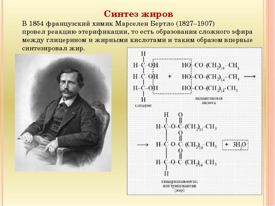 Синтез жиров В 1854 французский химик Марселен Бертло (1827–1907) провел реак...