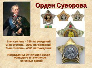 Орден Суворова 1-ая степень - 346 награждений 2-ая степень - 2800 награждений