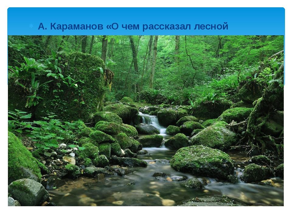 А. Караманов «О чем рассказал лесной ручеек»
