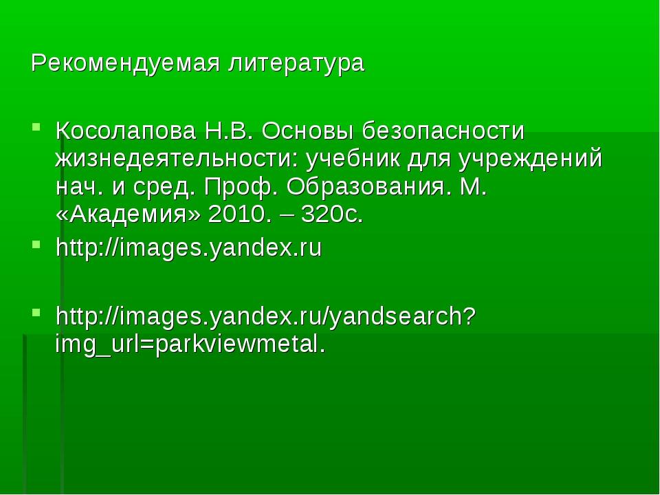 Рекомендуемая литература Косолапова Н.В. Основы безопасности жизнедеятельност...