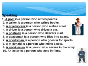 Speaking 1. A poet is a person who writes poems. 2. A writer is a person who