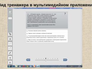 Вид тренажера в мультимедийном приложении