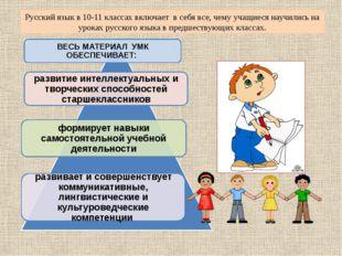 Русский язык в 10-11 классах включает в себя все, чему учащиеся научились на