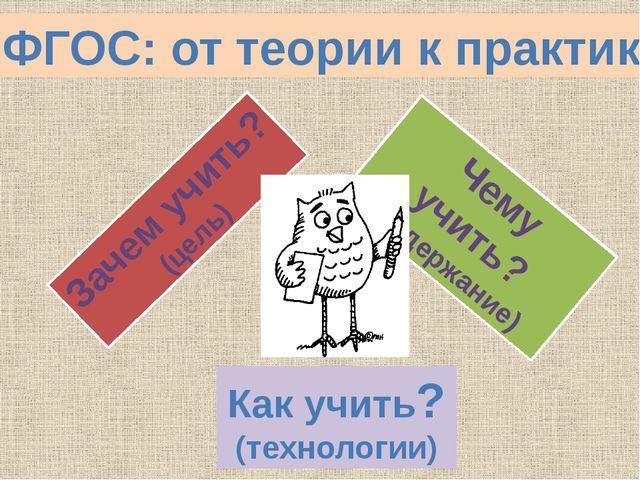 ФГОС: от теории к практике Зачем учить? (цель) Чему учить? (содержание) Как у...