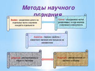 Методы научного познания. Анализ - разделение целого на отдельные части и изу