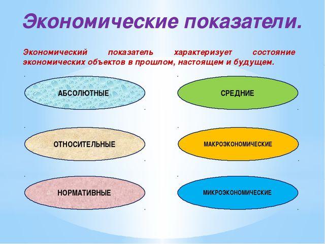 Экономические показатели. Экономический показатель характеризует состояние эк...