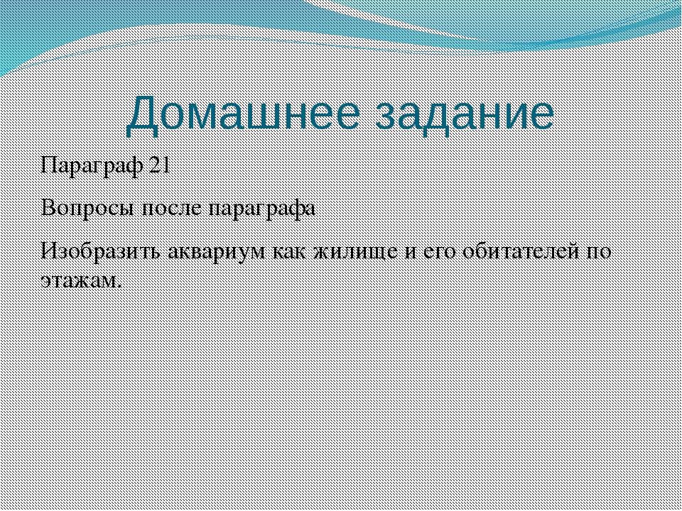 Домашнее задание Параграф 21 Вопросы после параграфа Изобразить аквариум как...