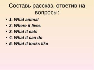 Составь рассказ, ответив на вопросы: 1. What animal 2. Where it lives 3. What